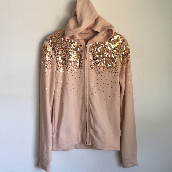 9f4a71566482c Jackets   Blazers - Pink Rose Gold Glitter Sequins Hooded Jacket M L